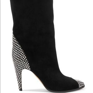 GIVENCHY Snake-effect leather-trimmed suede boots